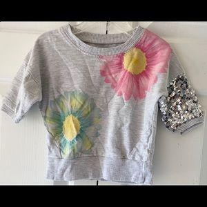 Kensie Toddler Girls Gray Sparkly Sequin  Top 3T